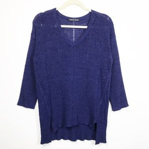 Cable & Gauge Blue Dropped Needle V Sweater S